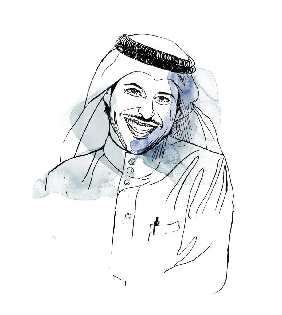 Illustration of 2018 Right Livelihood Award Laureate Waleed Abu Al-Khair. Illustration by: Anna Albert